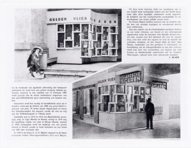 039503 - Wereldtentoonstelling voor Colonien, Scheepvaart en Vlaamse kunst in juni 1930 met een expositiestand van de firma Gulden Vlies sigarenfabriek v/h G. & S. Majoie