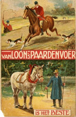 091937 - Reclame voor Van Loon´s paardenvoer. De Coöp. Meelfabrieken van A.C. van Loon & Zn. waren gevestigd aan de Spoorlaan 60.