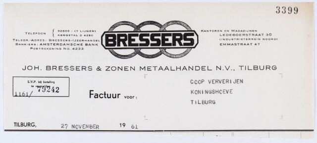 059730 - Briefhoofd. Nota van Joh. Bressers & Zonen Metaalhandel N.V., Emmastraat 47 voor Coöp. Ververijen, Koninghoeven