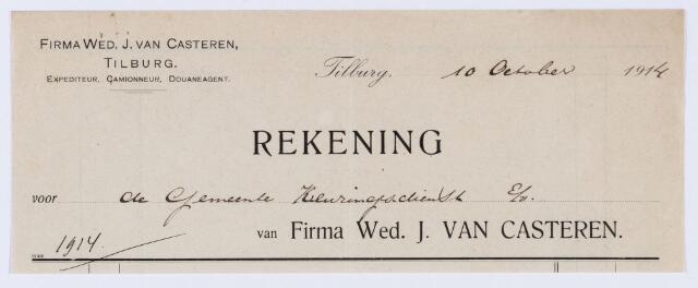 059830 - Briefhoofd. Rekening van Firma Wed. J. van Casteren, expediteur, Camionneur, Douaneagent voor de gemeente Tilburg