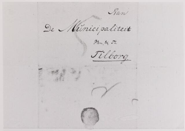 041630 - Postbrieven. Envelop van een brief uit 1799 van Kamp bij Kijkduin gericht aan de Municipaliteit vanTilburg.
