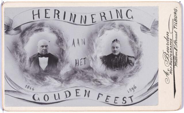 004752 - Herinnering aan de Gouden Bruiloft in 1896 van Laurentius JANSSENS (Tilburg 1817-1899) en Elisabeth van BUREN (Voorburg 1822 - Tilburg 1902).