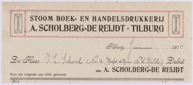 061049 - Briefhoofd. Nota van Stoomdrukkerij A. Scholberg _ de Reijdt, voor de O.L. School te Tilburg