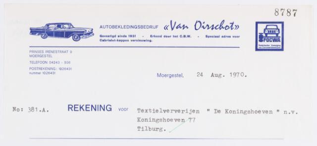 056852 - Briefhoofd. Textielindustrie. Briefhoofd van autobekledingsbedrijf Van Oirschot voor Textielververijen De Koningshoeven te Tilburg.