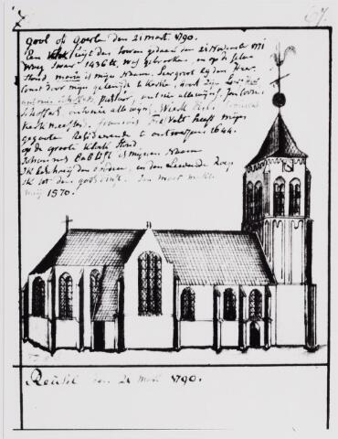 """046326 - Tekening. Tekening uit het schetsboek Hendrik Verhees van de voormalige R.K. kerk van St. Jan Onthoofding. Deze kerk dateerde uit de periode rond 1450, maar bij de afbraak van deze kerk op het einde van de 19e eeuw werden fundamenten gevonden van een oudere kerk. Volgens architect Cuypers dateerde dit gebouw uit het begin van de 12e eeuw en was er sprake van een """"quartae capelle"""", een bidplaats van mindere rang. In het cijnsregister van Brussel is in 1340 sprake van """"d' erffenisse van de priester in Goirle"""". Het kapittel van Hilvarenbeek bezat het recht om in Goirle pastoors voor te dragen, het zogenaamde collatierecht. In de 17e eeuw werd de kerk aan de katholieke eredienst onttrokken: vanaf 1639 gingen de Goirlenaren naar een schuurkerk op Spaans-Brabants gebied (Poppels-Nieuwkerk). Op 1 augustus 1674 stortte na een zware storm een deel van de kerktoren in, die bij de restauratie haar zware, stugge vorm kreeg. In 1809 kwam deze kerk weer in handen van de katholieke geloofsgemeenschap. De bouwkundige staat was toen niet best meer, maar na de het verwijderen van de typische dwarsbalken in het schip in 1843 op aanraden van een Goirlese timmerman, raakte de kerk nog meer in verval.  In 1849 en 1869 werd de kerk getroffen door blikseminslagen. In 1896 werd de kerk gesloopt, alleen de toren bleef staan. De oude kerk stond parallel aan de huidige Kerkstraat. De nieuwe kerk kwam haaks op de Kerkstraat te staan."""