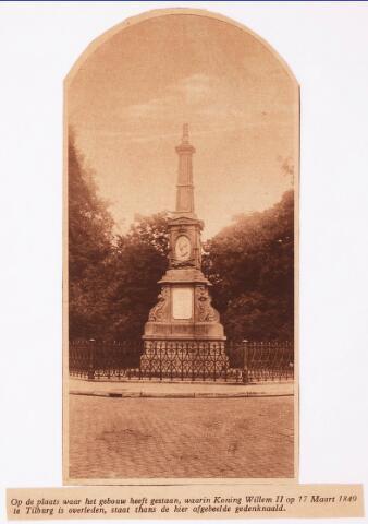 036019 - Pamflet. Gedenknaald koning Willem II, thans Stadhuisplein.