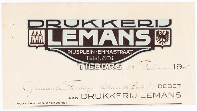 060564 - Briefhoofd. Nota van Drukkerij Lemans, Piusplein-19-Emmastraatvoor de gemeente Tilburg