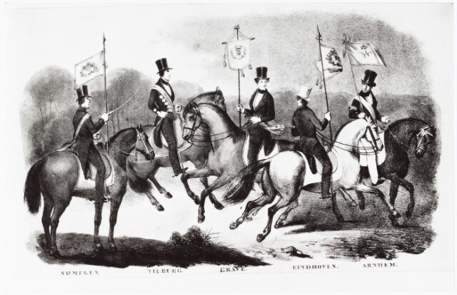 """008397 - Litho. Litho uit het boek van J. Wap waarop """"onverschillig een der Heeren gewone leden in kostuum"""" van iedere plaatselijke erewacht is afgebeeld; tweede van links een lid van de Tilburgse erewacht op 29 april 1841. Koning Willem II bracht van 29 april tot 1 mei een bezoek aan Tilburg t.g.v. zijn inhuldiging. Op 1 mei vertrok hij naar Den Bosch."""