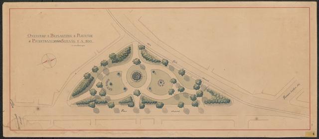 652570 - Ontwerp beplanting pleintje Piusstraat (Piuspark), ingekleurd. Tekening van Leonard Springer, 1903.