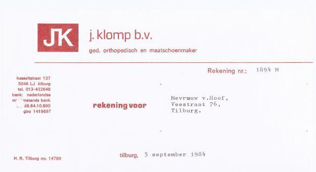 060482 - Briefhoofd. Nota van J. Klomp B.V., ged. orthopedisch en maatschoenmaker, Hasseltstraat 137 voor Mevrouw v. Hoof, Veestraat 76
