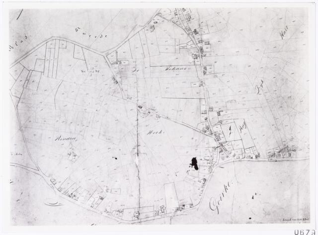 006791 - Kaart. Kaart van de wijk ´Het Goirke´. Op 22 mei 1842 hield P. Donders onder grote belangstelling zijn afscheidspreek in de kerk van `t Goirke. Wegens het slechte weer duurde het toch nog tot augustus voordat hij afreisde naar Suriname. Hij zou nooit meer voet op Nederlandse bodem zetten.