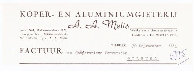 """060702 - Briefhoofd. Nota van Koper- en aluminiumgieterij A.A. Melis, Surinamestraat 4, voor Textielververijen """"De Koningshoeven"""" Koningshoeven 77"""