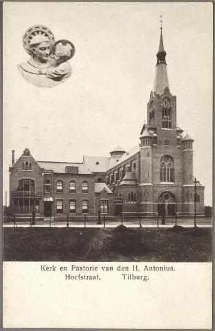 011162 - Pastorie en kerk van de H. Antonius van Padua aan de Hoefstraat. Bovenaan links een afbeelding van deze heilige met het kindje Jezus.