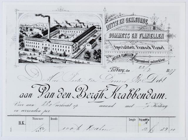 059547 - Briefhoofd. Briefhoofd van een nota door Van den Bergh Krabbendam, handel in witte en gekleurde, Dommets en Flanellen, aan Pieter van Dooren