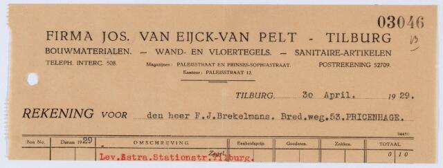 060085 - Briefhoofd. Nota van Jos van Eijck-van Pelt, Paleisstraat 12, handel in alle soorten bouwmaterialen voor F.J. Brekelmans, Bredaseweg 53 te Princenhage