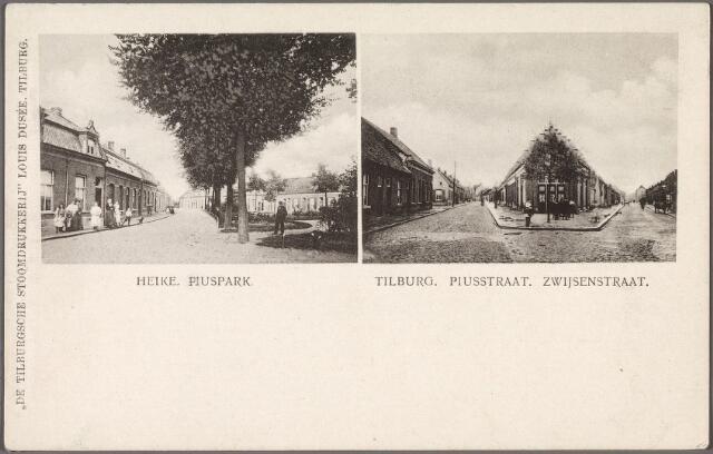 010689 - Links  het toenmalige Piuspark voorheen het Heike. Rechts de splitsing Bisschop Zwijsenstraat (links) en de Piusstraat (rechts).