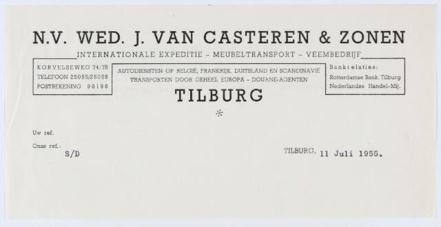 059831 - Briefhoofd. Briefhoofd van N.V. Wed. J. van Casteren & Zonen, internationale expeditie - meubeltransport Veenbedrijf, Korvelseweg 74/78