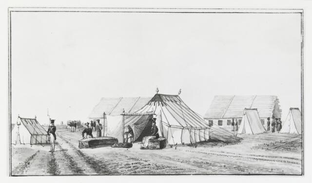 056077 - Gravure. Belgische Opstand. Militaire kampen. Tent van overste Boreel in het kamp Rijen