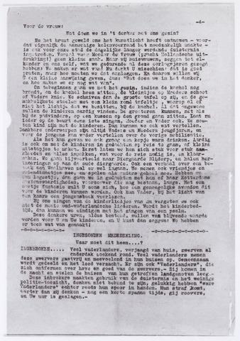 012977 - Tweede Wereldoorlog. Veel nieuws kwam via alternatieve media naar de bevolking. Dit getypt exemplaar verscheen begin november 1944 en bevatte een waarschuwing aan het adres van degenen die ' zich ontfermen over have en goed'  van hun getroffen stadsgenoten