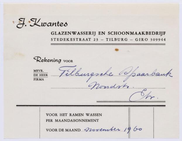 060527 - Briefhoofd. Nota van J. Kwantes, glazenwasserij en schoonmaakbedrijf, Stedekestraat 23, voor Tilburgsche Spaarbank, Noordstraat