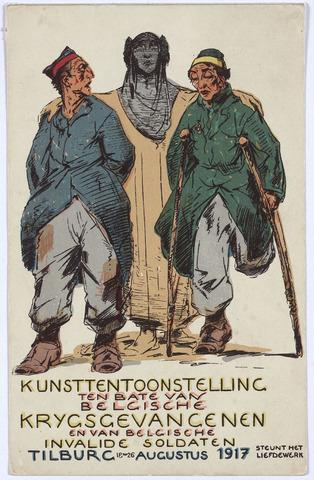 003244 - Affiche van de kunsttentoonstelling ten bate van de Belgische krijgsgevangenen en de Belgische invalide soldaten, gehouden te Tilburg van 18 tot 26 Augustus 1917.