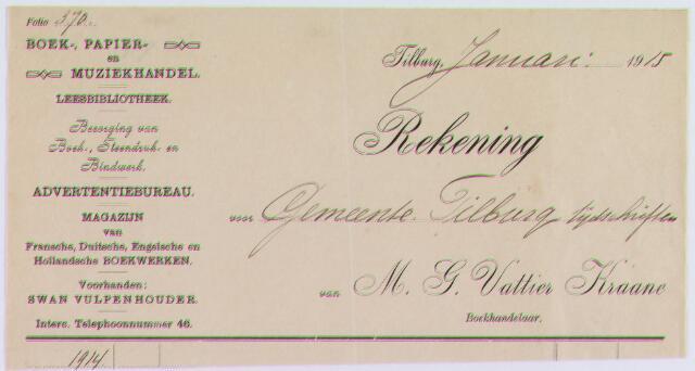 061280 - Briefhoofd. Nota van Boek en Muziekhandel M.G. Vattier Kraane voor de gemeente Tilburg