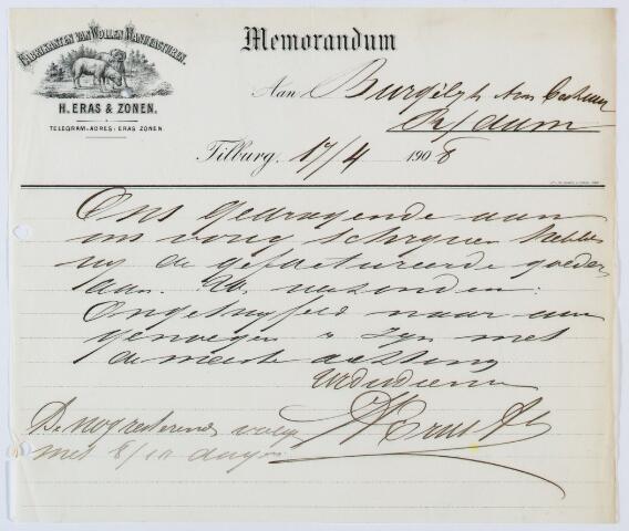 060045 - Briefhoofd. Memorandum van H. Eras & Zonen, Fabrikanten van Wollenstoffen voor het burgerlijk armbestuur