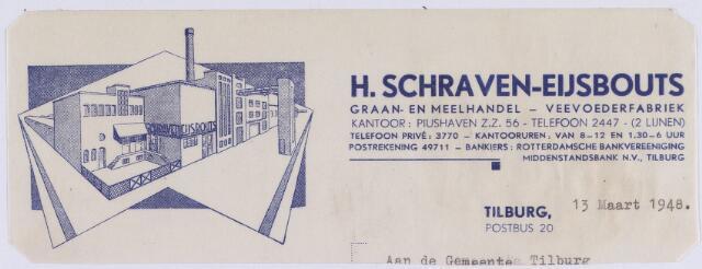 061080 - Briefhoofd. Nota van H. Schraven-Eijsbouts, graan- en meelhandel - veevoederfabriek, Piushaven Z.Z. 56 voor de gemeente Tilburg