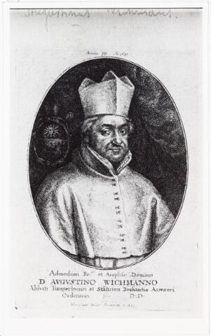 008384 - Augustinus WICHMANS (Antwerpen 1596 - Mechelen 1661, geboortenaam: Franciscus, kloosternaam: Augustinus), Norbertijn van de abdij van Tongerlo, pastoor van Mierlo en van 1632 tot 1642  pastoor van Tilburg. Lid van de Staten van Brabant. Moest in 1636 vluchten t.g.v. anti-katholiek plakkaat van de Staten Generaal. In 1644 werd hij de 43e abt van de Abdij van Tongerlo. Hij is schrijver van vooral religieuze werken. In Tilburg is de Wichmansstraat naar hem genoemd. Ets van W. Holar