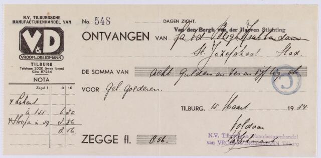 061381 - Briefhoofd. Kwitantie van N.V. Tilburgsche manufacturenhandel van V & D voor Van den Bergh van der Hoeven Stichting, St Jozefstraat te Tilburg