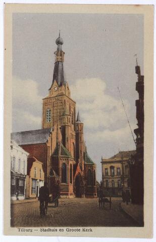 001870 - Oude Markt voorheen de Markt met parochiekerk van de H. Dionysius (Heike) en voormalig gemeentehuis.