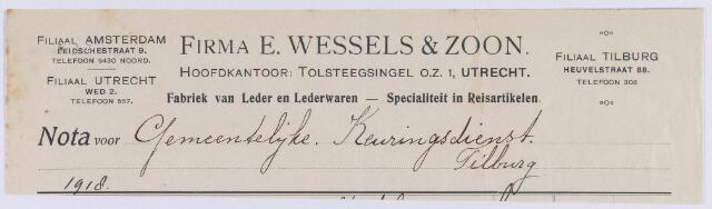 061417 - Briefhoofd. Nota van Firma E. Wessels & Zoon, fabriek voor leden en lederwaren, Heuvelstraat 88 voor de gemeentelijke Keuringsdienst van  Tilburg