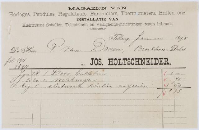 060311 - Briefhoofd. Nota van Jos Holtschneider, magazijn van horloges, pendules enz., voor P. van Doorn te Tilburg