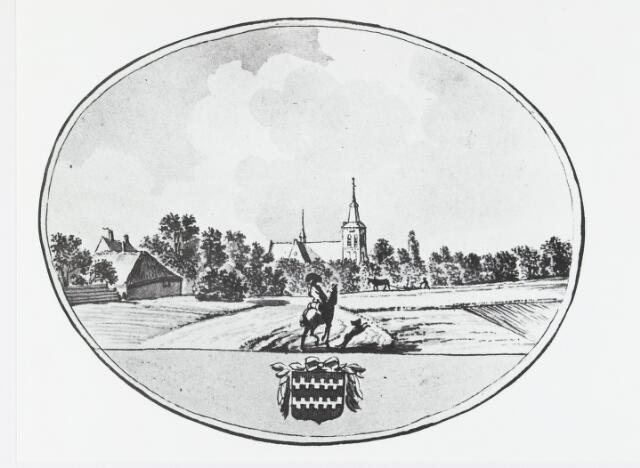 055379 - Tekening. Het dorp Dongen vanaf de Molenakkers (± 1787)