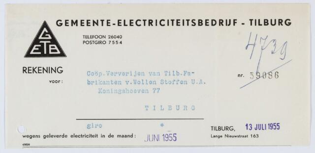 060128 - Briefhoofd. Nota van Gemeente Gas- en Electriciteitsfabrieken te Tilburg voor Coöp. Ververijen van Tilb. Fabrikanten van Wollen Stoffen U.A., Koningshoeven 77