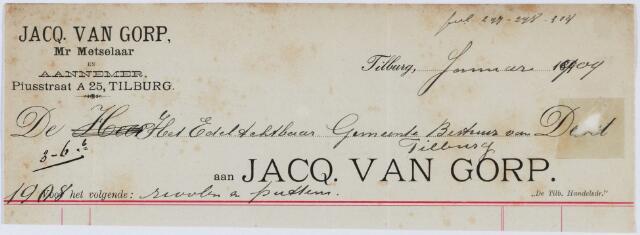 060186 - Briefhoofd. Nota van Jacq van Gorp, meester metselaar, Piusstraat A 25 voor Gemeente Tilburg