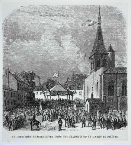 031851 - Tekening. Spoorwegen: opening lijn Breda-Tilburg Muziektempel voor het stadhuis op de Markt.