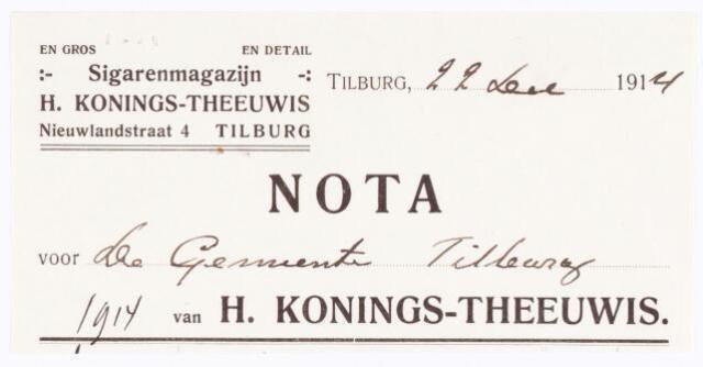 060506 - Briefhoofd. Nota van H. Konings-Theeuwis, Groothandel in sigaren, sigaretten, rookartikelen enz., Nieuwlandstraat 4 voor de gemeente Tilburg