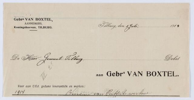 059699 - Briefhoofd. Nota van Gebrs. van Boxtel, aannemers, Koningshoeven, voor Gemeente Tilburg