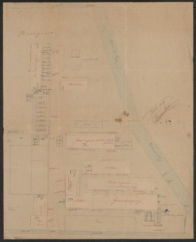 652551 - Door de fabrikant Frans van Dooren eigenhandig getekende plattegrond met uitklapbare situatietekeningen van het interieur, voor een verbouwing en uitbreiding van de wollenstoffenfabriek Pieter van Dooren.