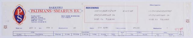 060886 - Briefhoofd. Nota van Paijmans-Smarius B.V., bakkerij, Ringbaan-Noord 205, voor Harmonie-sociteit, Stationsstraat 26