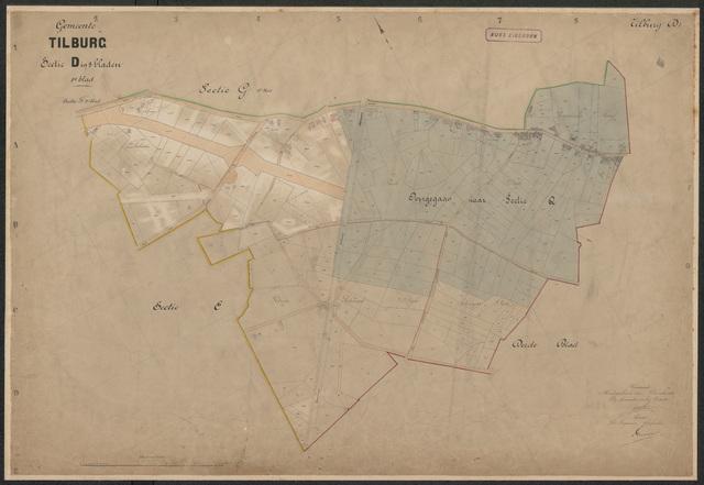 652588 - Kadasterkaart Tilburg, Sectie D (Korvel), blad 1. Schaal 1:2500. 1899.