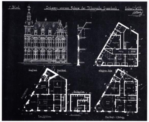 049925 - Tekening. Bouwtekening van de Tilburgsche Spaarbank, ontworpen door architect Van Hoof.