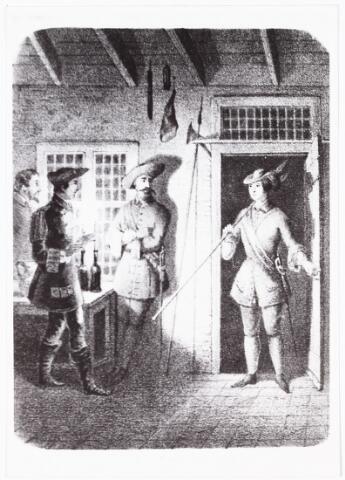 008335 - Litho. Scène van herberg de Gekroonde Zwaan Heuvel(later de Gouden Zwaan), 1669. Tobias Morello en Jacob Weijerman in Dendermonde. Morello, T .MR. J.I.D. Nepveu schreef vanaf 1840 verhalen in het blad Aurora. Het eerste verhaal in de bundel, Tobias Morello(1669-1674), dat hij in 1840 schreef, gaat over Lijs de Saint Mourel, de partisane die haar bewogen carrière in Tilburg is begonnen. Een geval van travestie om bestwil. Het verhaal begint in 1669 op de Heuvel. Daar stond tegenover de lindeboom herberg De Gekroonde Zwaan (waar later hotel 'De Gouden Zwaan' van H.B. Hegeman heeft gestaan; thans Burger King op de hoek van de Zwaanstraat). Kastellein was weduwnaar Cornelis Weijerman, die daar met zijn zoon Jacop en het kamermeisje Lieske of Lijs de Saint Mourel woonde. Zij was de dochter van Ludovic de Saint Mourel, een Fransman die in Oisterwijk woonde. En dan, in een novembernacht van 1669, speelt zich in de herberg een drama af. Een Franse zakenman wil in de herber overnachten, valt voor de charmes van de Franssprekende Lieske en probeert haar onder valse voorwendels mee te nemen naar Frankrijk, waar hij haar zogenaamd naar haar rijke familie zou terugbrengen. In een poging om haar 's nachts te schaken, wordt hij door een ongelukkige val aan zijn eigen degen geregen: hij zakt `stervend´in elkaar. Ee andere, minder romantische versie van het verhaal, vertelt dat zij èen Tilburger die haar vastgreep, met een mes, dat zij steeds bij zich in de gordel droeg´neerstak. Hoe dan ook, Lieske voelt zich schuldig aan moord en vlucht op aanraden van Weijerman naar Hilvarenbeek. Daar wist zij mannenkleren te bemachtigen en zo als jongen verkleed de grens over te steken. In het Vlaamse Dendermonde liet zij zich als trommelslager in Spaanse dienst werven onder de naam Tobias de Mourel, wat later verspaanst werd tot Morello. Zo gin zij jaren door het leven als man en nam zelfs deel aan de guerrillastrijd tegen de Fransen in 1672. De 17-jarige Tobias werd bevorderd tot vaan