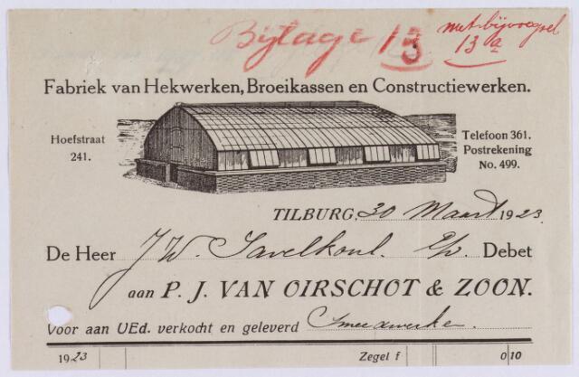 060850 - Briefhoofd. Nota van P.J. van Oirschot & Zonen, fabriek van hekwerken, broeikassen en constructiewerken, Hoefstraat 241 voor J.W. Savelkoul te Tilburg.