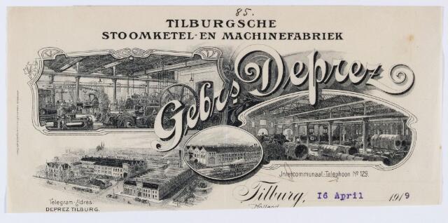 059898 - Briefhoofd. Briefhoofd van Gebrs. Deprez, Tilburgsche Stoomketel- en Machinefabriek