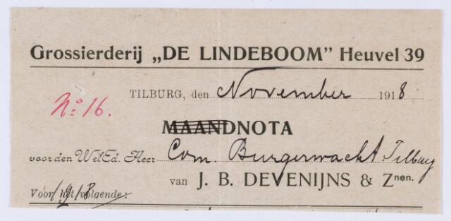 """059907 - Briefhoofd. Nota vanJ.B. Devenijns & Zonen ( Grossierderij """"De Lindeboom"""" Heuvel 30), voor de Burgerwacht te Tilburg"""