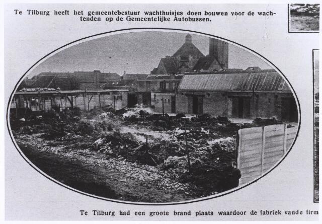022640 - Brand bij de firma Kuhn & Adler in de Hoogtedwarsstraat. Op 22 maart 1928 ging deze textiel- en kunststofververij vrijwel geheel verloren  Reproductie uit Brabantse Illustratie