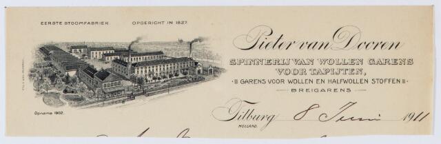 059963 - Briefhoofd. Briefhoofd van Pieter van Dooren, Spinnerij van Wollen garens voor tapijten