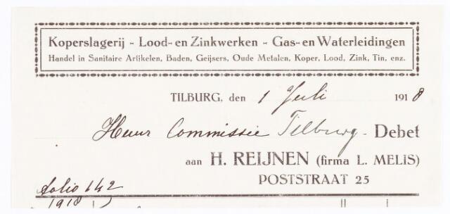 060703 - Briefhoofd. Nota van H. Reijnen (firma L. Melis), koperslagerij enz., Poststraat 25 voor huurcommissie Tilburg